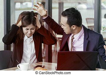 violência, em, a, local trabalho, saliência, e, a, trabalhador