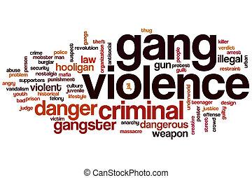 violência, palavra, bando, nuvem