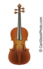 violín, blanco, aislado, clásico