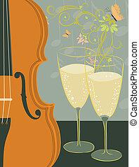 violín, champaña