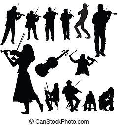 violín, conjunto, jugadores
