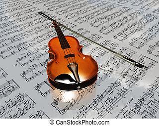 violín, en, música hoja, fondo, con, nubes, reflejar