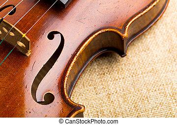 violín, encima de cierre