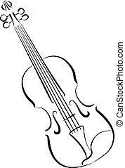 violín, fondo., blanco, aislado, sketched