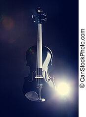 violín, moderno, negro