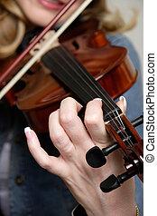 violín, mujer, juego