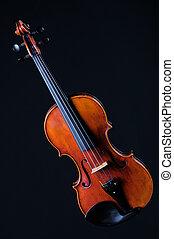 violín, negro, completo, viola, aislado