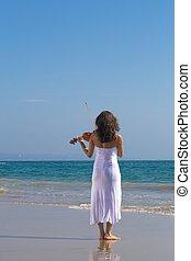 violín, niña, playa, juego