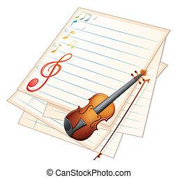 violín, notas, papel, musical, vacío