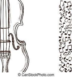violín, o, bajo, y, música nota