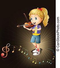 violín, talentoso, jugador