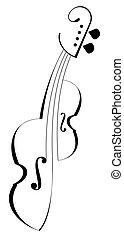 violín, vector, -, icono, viola