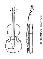 violín, vector, ilustración