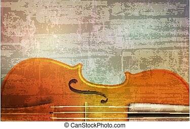 violín, vector, sonido, ilustración, resumen, gris, grunge,...