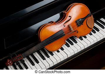 violín, y, piano