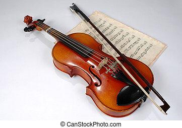 violín, y, vendimia, hoja de música