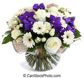 viol, rosen, durchsichtig, glas, blumen-, weißes, ...