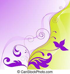 viola, astratto, sfondo giallo