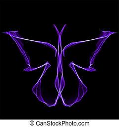 viola, astratto, vettore, baluginante, butterfly.