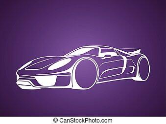 viola, auto, bianco, super, sopra