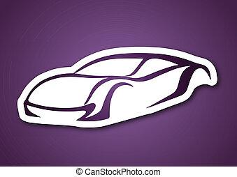 viola, auto, sopra, fondo, logotipo