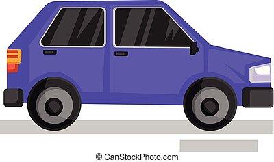 viola, automobile, illustrazione, fondo., vettore, bianco