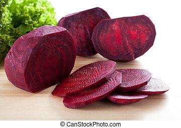 viola, barbabietola rossa, asse, legno