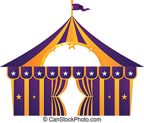 viola, bianco, circo, isolato, tenda