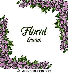 viola, cornice, illustrazione, elegante, vettore, disegno, floreale, congedi verdi