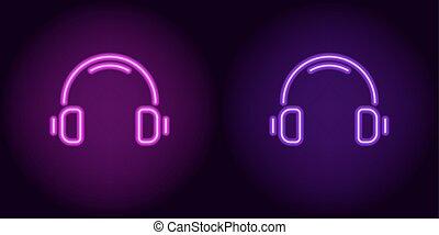 viola, cuffie, neon, viola
