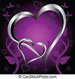 viola, cuori, giorno valentines, fondo
