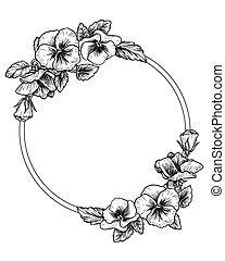 viola del pensiero, disegnato, cornice, fiori, mano