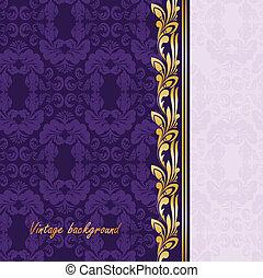 viola, dorato, ornamento