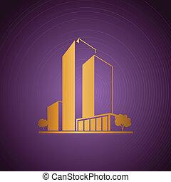 viola, dorato, sopra, appartamenti