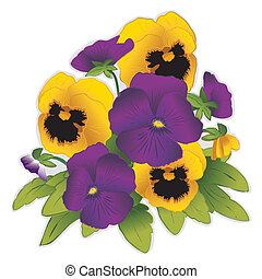 viola, e, oro, viola del pensiero, fiori