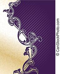 viola, elegante, floreale, fondo, oro