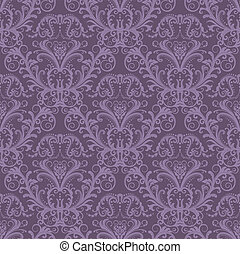 viola, floreale, carta da parati, seamless