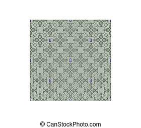 viola, floreale, carta da parati, verde, seamless