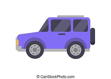 viola, grande, automobile, closeup, vettore, illustrazione