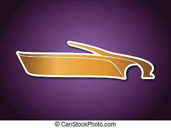 viola, logotipo, sopra, auto, dorato