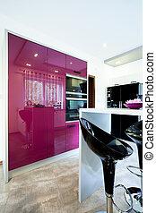 viola, moderno, cucina, mobilia