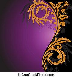 viola, nero, ornamento, fondo, oro