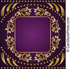 viola, ornamento, fondo, oro