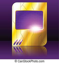viola, oro, futuristico, segno