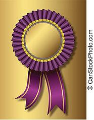 viola, premio, sopra, sfondo dorato