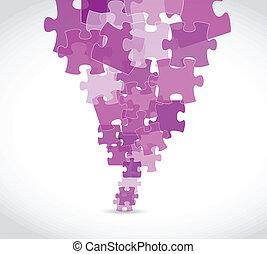 viola, puzzle, disegno, illustrazione, pezzi