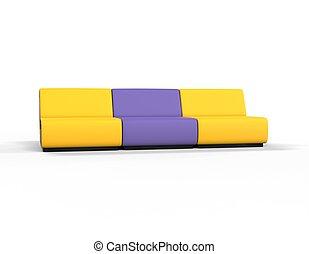 viola, salotto, moderno, giallo