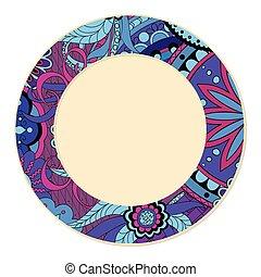 viola, scarabocchiare, motivo, decorato, piatto, pietanza