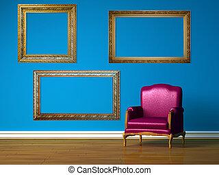 viola, sedia, in, blu, minimalista, interno