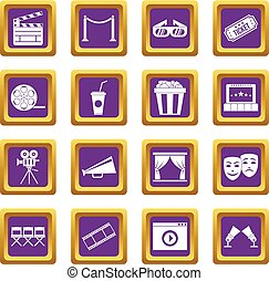 viola, set, cinema, icone